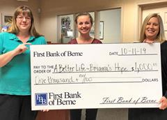 First Bank of Berne donates to A Better Life - Brianna's Hope