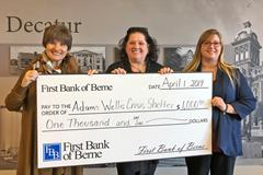 First Bank of Berne donates to Adams Wells Crisis Center