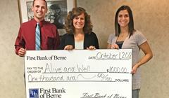 First Bank of Berne gives to Alive and Well