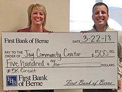 First Bank of Berne donates to Jay Community Center