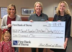 First Bank of Berne donates to Secret Families Christmas Charity