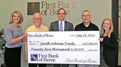 First Bank of Berne pledges funds to South Adams Trails