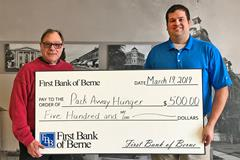 First Bank of Berne supports Pack Away Hunger with recent donation
