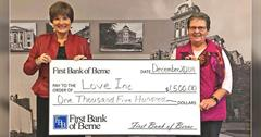 First Bank of Berne donates to Love INC in Decatur