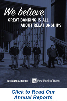 Cover of First Bank of Berne's 2018 Annual Report